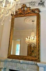 "Monumental Antique French Gilt Wood Mirror Ornate Crest Putti C Scrolls 100.5"""