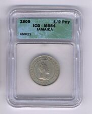 JAMAICA  1909  HALF-PENNY  COIN, CHOICE UNCIRCULATED, ICG CERTIFIED MS-64