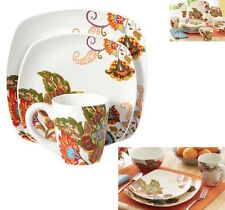 White Floral Dinnerware Dining Dish Set Dishes Plate Bowls Cup 12 Place 48 Piece