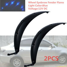2x 58CM Black Car Fender Wheel Eyebrow Protector Sticker w/Cool Blue LED Light