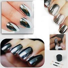 Mirror Chrome Effect No Polish Nail Powder Foil Nails Art Glitter Silver Shiny