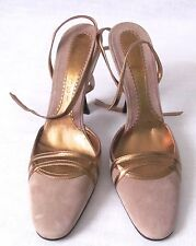 CASADEI Suede Gold Metallic Strappy Heels, Size 8B, Made In ITALY