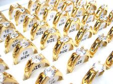 Wholesale Lots Jewelry 20pcs Resale Zirconia Stainless Steel Women's Rings J70