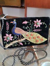 Straordinaria borsetta da sera pochette antica vintage velluto ricamato
