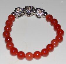 Jewellery-Light Colorado Topaz Agate Alloy R/Stone Hearts Stretch Bracelet- 50mm