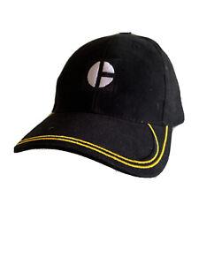 CAT Caterpillar Graphic Logo Black Baseball Hat Cap Yellow Trim