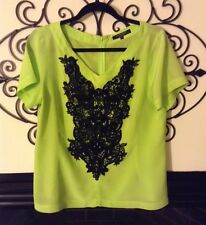 nanette lepore neon lime silk blouse black trims size large