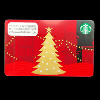 Merry X'MAS Christmas Tree 2013 Starbucks Card Japan Coffee Red Gold With Sleeve