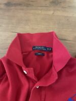 Men's Polo Ralph Lauren Big Pony Polo Shirt Red Long Sleeve Slim Fit Medium