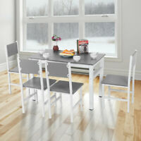 Modern Dining Table and 4 Chairs Set Steel legs Dining Room Chair White Kitchen