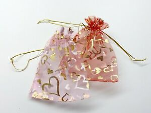 """Organza Bags Pink Red Heart Mother's Gift Pouch Candy Wedding Favor 6x4"""" 24 pcs"""