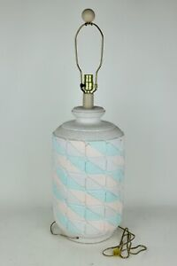 """Large Heavy Pink/Blue Painted Patterned Ceramic Beach House Table Lamp - 32"""""""