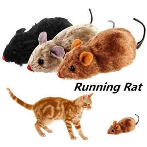 Simulation Mice Fake Mouse Cat Play Toys Clockwork Plush Mouse Squeak Noise