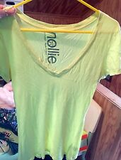 Neon Yellow V Neck T Shirt By Nollie Sz S Short Sleeve