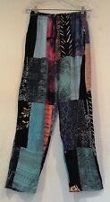 NWT Art To Wear Rayon Batik Patchwork Pockets Elastic Waist Pants Size L XL