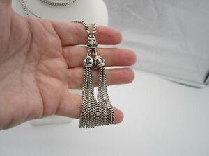 David Yurman Renaissance Diamond Sterling Silver Tassel Long Pendant Necklace