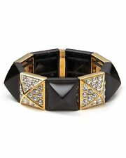 $68 Juicy Couture Black Color Pave Pyramid Stretch Stacking Bracelet
