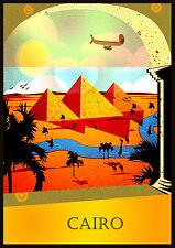 A3 - Cairo Pyramid Egypt - Retro Nostalgic Home Art Print / Wall Decor poster