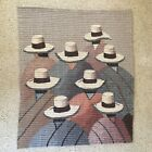 Large Wall Hanging Woven Tapestry Sombrero Folk Art Mexico Native