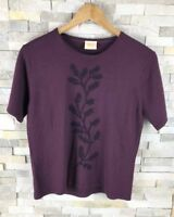 Country Casuals Ladies Size L Wool Blend Purple Floral Top