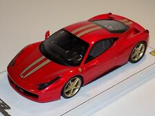 1/18 BBR Ferrari 458 Italia in F1 Red with Gold Stripes and Gold Wheels