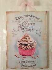 "Shabby French Paris Cupcake Sign Plaque Wall Decor Distressed. 5"" X 7"""