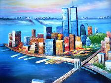 New York City Manhattan Bridge Oil Painting Canvas 20 x 24 Decorated Wall Art