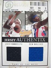 2004-05 FLEER JERSEY AUTHENTIX DUAL MATERIALS CARD RANDOLPH WALLACE   BOX54