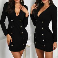 Women V Long Sleeve Double-Breasted Bodycon Cocktail Work Midi Blazer Dress UK