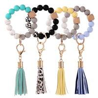 Wristlet Key Ring Silicone Beads Leather Tassel Women Bracelet Car Keychain Gift