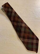 "Vtg 1930s 30s Botany 100% Wool Brown Argyle Tie Swing Gatsby Short VLV 46"" 3.5"""