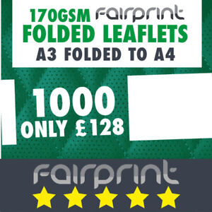 1000 Folded Leaflet and Menus / A3 to A4 / 170gsm Gloss