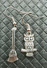 HARRY POTTER OWL AND BROOMSTICK EARRINGS HOGWARTS FIREBOLT NIMBUS 2000 HEDWIG