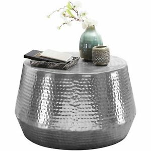 WOHNLING Couchtisch Ø 60 cm Beistelltisch Silber Sofatisch Wohnzimmertisch Rund