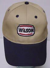 WILSON Gas Oil Petroleum ADVERTISING LOGO Tan Khaki ADJUSTABLE HAT CAP