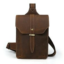 Men's Vintage Real Leather Sling Backpack One Shoulder Bag Chest Pack Sport Bag