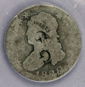 """1820-P 1820 Capped Bust Quarter Large Diameter ANACS F 2 """"G G"""" Countermarks"""