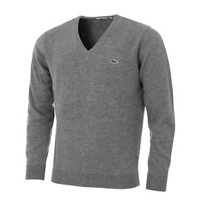 Lacoste Wool Jumper BNWT size XXL (7) Mens Grey V Neck Genuine Merino AH0844