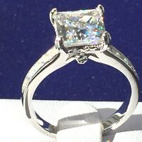 3ct princess cut simulated diamond engagement ring 925 silver women promise ring
