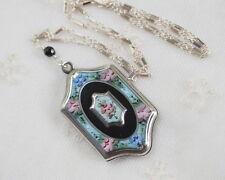 Antique Guilloche Enamel Locket Vintage Sterling Silver Chain Pendant Necklace