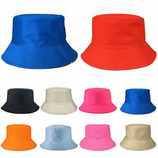 Childrens Bush Hat Boys Girls Colours Cotton Summer Sun Bucket Cap New Plain