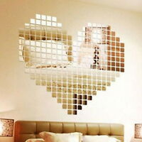 100~500 x Mirror Tile Wall Sticker 3D Decal Mosaic Decor Vinyl Art DIY Stick  YG