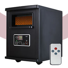 1500W Electric Space Heater Infrared Quartz with Remote Control Portable Black