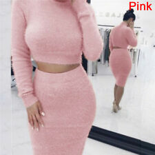 2X Fashion Women Skirt Set Long Sleeve Cropped Top Pencil Skirt Knitted Suit FG