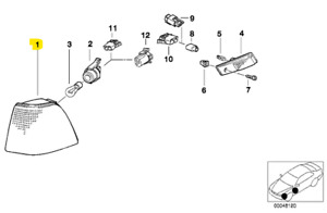 BMW E36 Right Turn Signal Assembly TYC 63138353284