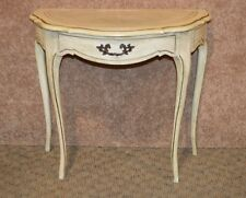 Distressed French Provincial Demi-Lune Console Table w/Leather
