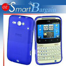 Blue Soft Gel TPU Cover Case For HTC CHaCha G16 + Screen Protector