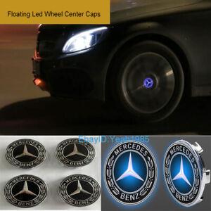 4X 75mm Floating LED Wheel Center Caps Fit For Mercedes Benz Emblem Logo Badge