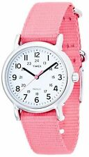 Timex Womens T2P368 Weekender Pink Nylon Strap White Dial Watch