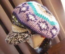 "ROXY Knit Newsboy Cap ""BELLUNA"" Brimmed Hat in Purple / Brown ~ One Size"